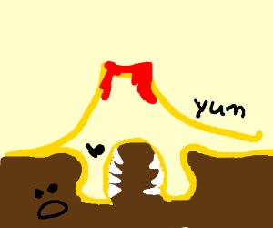 Yellow volcano eats ground