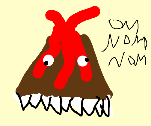 bottom of volcano eats ground w/ pointy teeth