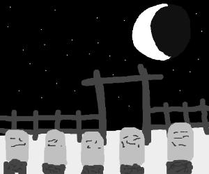 gravestone crescent moon night sky
