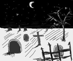 graveyard under a crescent moon
