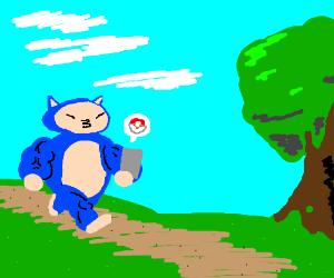 Buff Snorlax playing Pokémon Go