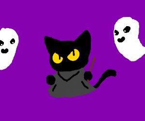 The Halloween Google game(cat vs ghost)