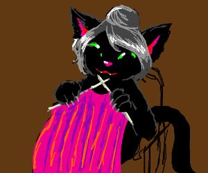 Black cat knitting