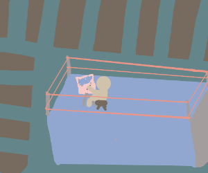 Man paints a picture while in a wrestling ring