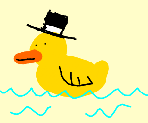 A rubber ducky wearing a hat