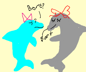 "two dolphins in bows saying ""Bort"""