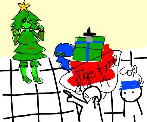 Christmas tree accused of stabbing present