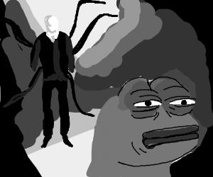 Slender Man Haunts Pepe Drawing By Actuallycarjacking Drawception