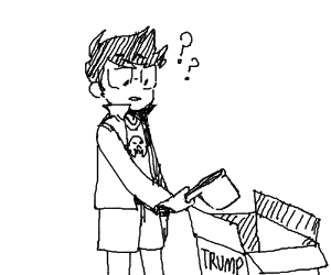 Jake holds dipper in trump box (?)