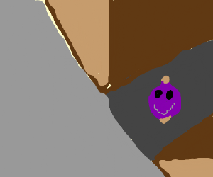 Creepy purple onion with a face in an alleyway