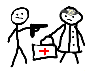 A man pointing his gun at a doctor