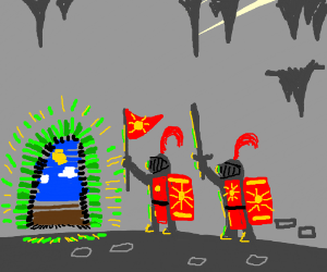 Knights enter a glowing green doorway.