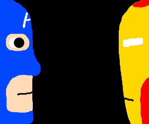 captain america & iron man stare at eachother