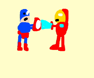 Capt. America facing Iron man(likeincivilwar)