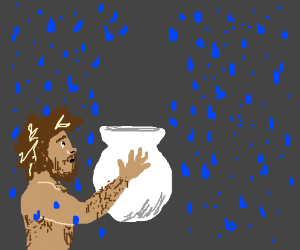 Raindrops try to avoid hairy man's vase