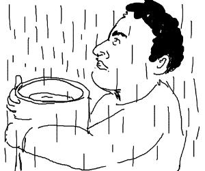 Greek catches rainwater in a pot/jar