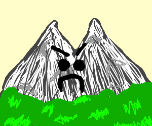 disapproving double peaked mountain