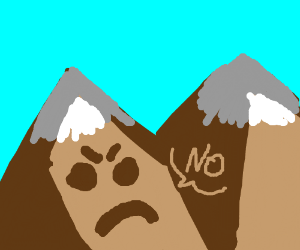 Mountain with a face says no