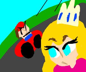 Mario and Princess Peach in Mario Kart