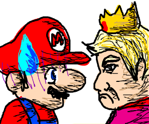 mario and peach but peach is trump in disguise