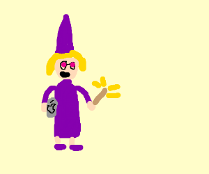 Blond witch in purple clothes holds a laptop