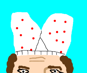 Wearing polka-dotted boxer shorts on your head
