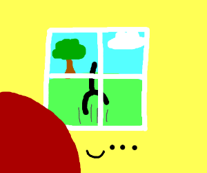 Stickman, with no arms or head, jumps outside
