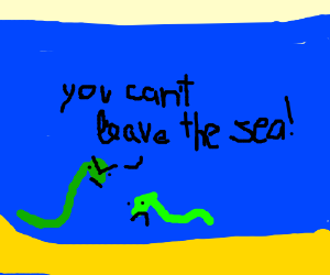 snake wants to leave sea, but mom grounded him