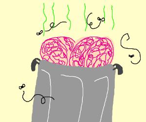 2 brain in a trashbin