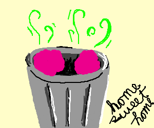 Smelly pink blobs live in trash can