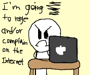 a guy raging on the internet