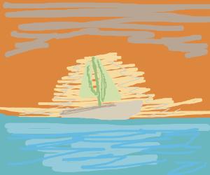 A sailboat at sunrise