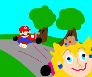 Princess leading mario in Mariocart