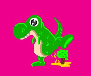 Dinosaur peeing on a tree like a dog