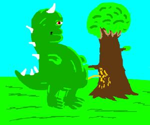 Dinosaur unrinating on a tree