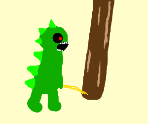 One-eyed Godzilla relieves itself on a tree