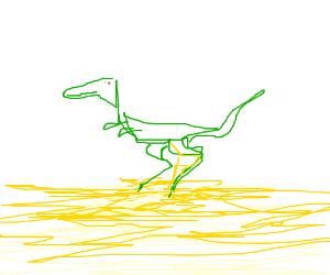 Dinosaur pees on the ground.