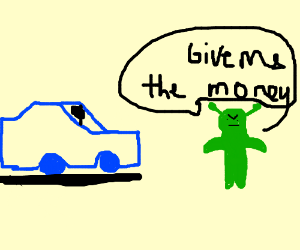 A guy in a blue car robbed a green guy
