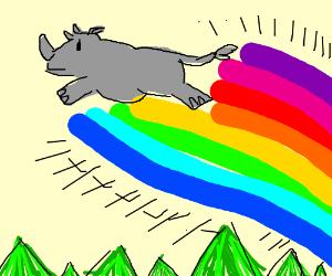 Rainbow-powered rhino is flying