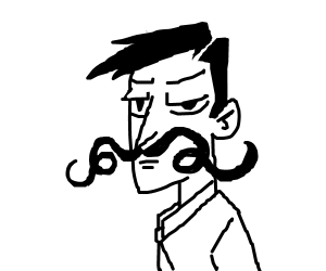 Serious man, silly mustache