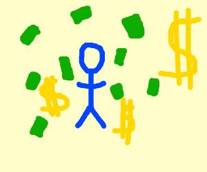 Blue stick-man is dirty rich
