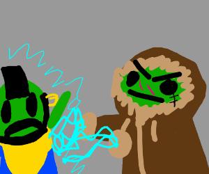 Zombie eskimo uses force lightning on green T.