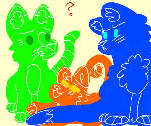 Green, Orange or Blue Cat?