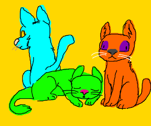 orange, green, and blue cats