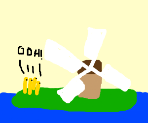 Frenchfrys on an island watching a windmill