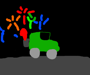 Some car that launch fireworks.