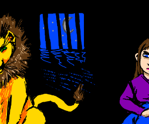 Lion and a girl trapped in jail