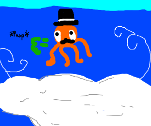 Octodad floating in the clouds