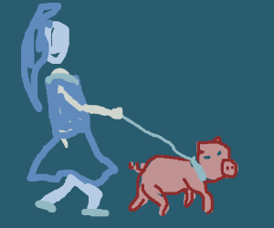 Girl walking her pig in a store
