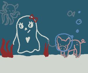 ghost walks her pig in the ocean